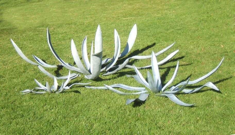 Group of Agave sculptures by Iron Vein steel sculpture